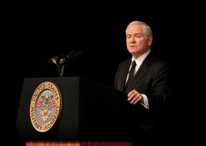 """Former US Secretary of Defense Robert Gates addressing the Corps of Cadets in Eisenhower Hall. Gates thinks the odds are """"pretty high"""" that presidential candidate Hillary Clinton's emails were hacked by countries like Iran, Russia and China. Photo: Tommy Gilligan."""