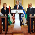 U.S. Secretary of State John Kerry, Israeli Justice Minister Tzipi Livni, and Palestinian Chief Negotiator Saeb Erekat. Photo: State Department.