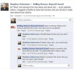 A screenshot of Stephen Ackerman's comments, since deleted, on 'Rolling Stones: Boycott Israel' Facebook page. Photo: Screenshot / Israellycool.