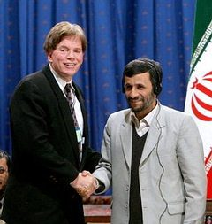 At a Holocaust Denial Conference, in 2006, David Duke shakes hands with former Iranian President Ahmadinejad.