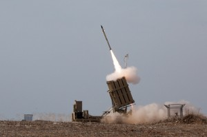Israel's Iron Dome launches a missile to intercept a Gaza rocket during Operation Pillar of Defense in 2012. Photo: Matanya via Wikimedia Commons.