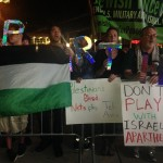 Pro-Palestinian protesters demonstrated outside of the Maccabi Tel Aviv-Brooklyn Nets basketball game on Oct. 7 in Barclays Center. Photo: Reporter.