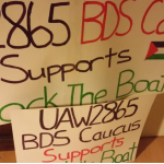 Leaders of the UAW 2865 union at the University of California are leaning on members to vote in favor of BDS. Photo: Twitter