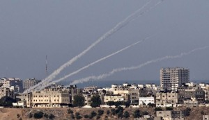 A rocket fired from the Gaza Strip. PHOTO: Alalam.