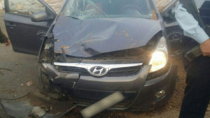 The vehicle involved in Wednesday afternoon's car-ramming attack near Hebron. Photo: Hatzalah.