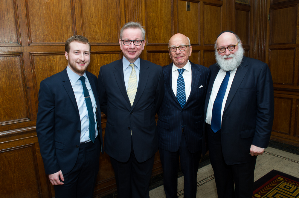 From left: Michael Gove, Rupert Murdoch and Simon Jacobson.