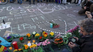 A memorial for the victims of Tuesday's Brussels attacks. Jews in Brussels will scale down Purim celebrations this year. Photo: Miguel Discart via Wikimedia Commons.