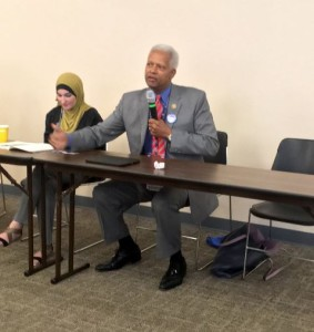 """Georgia lawmaker Hank Johnson addressing an event sponsored by the US Campaign to End the Israeli Occupation, where he compared Israeli Jews to """"termites."""" Photo: Jewish Voice for Peace/ Twitter."""