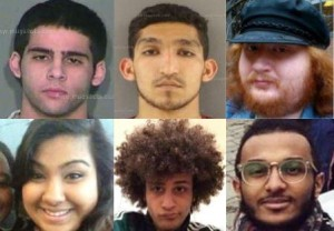 """University of Tennessee anti-Israel activists Afeed Youssef Kamah, Eyad Hijer, Jordan Welsh, Stori Nuri, Hesham Annamer and Mohamed Ali have been identified by Canary Mission as ringleaders of a bigoted """"cesspol"""" promoting antisemitic and racist hatred. Photos: Canary Mission."""
