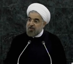 Irani President Hassan Rouhani at the United Nations. Photo: Screenshot.