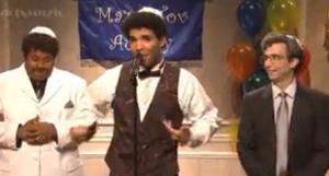 Jewish rapper Drake (center), in a SNL skit about his bar mitzvah. Photo: Screenshot.