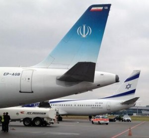 A photograph of the Israeli and Iranian airplanes parked next to each other at Zurich's Airport for the World Economic Forum. Photo: Screenshot / John Fraher.
