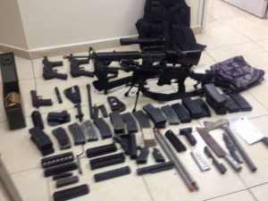 IDF overnight seized hundreds of weapons and explosives in Nablus, as part of Operation Brother's Keeper. Photo: IDF.