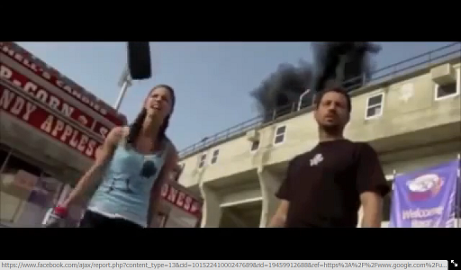 A screenshot from 'The Final Destination 4,' with the projectile about to hit the actress's head. Photo: Screenshot.
