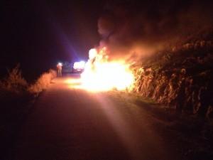 Scene of firebombing of Ayala and Avner Shapira's car. Photo: United Hatzalah.