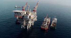 A gas rig off Israel's coast. Photo: YouTube screenshot.