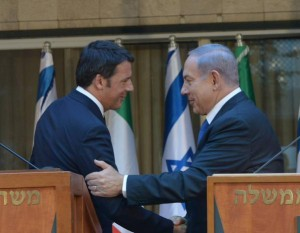 Israeli Prime Minister Benjamin Netanyahu reiterated his opposition to the Iran nuclear deal during a session wit  Italian Prime Minister Matteo Renzi. Photo: Twitter.
