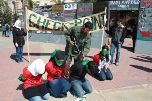 """Israeli Apartheid Week"" in May 2010 on the University of California, Los Angeles (UCLA) campus. Photo: AMCHA Initiative."