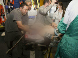 The evacuation of IDF Sergeant Gilad to the Shaare Zedek Medical Center in Jerusalem. Photo: Anonymous.