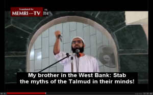 A cleric from Rafah called on Palestinians to stab and murder Jews during his Friday sermon while brandishing a knife. PHOTO: Screenshot.