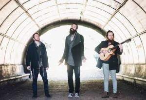 From left to right, Elisha Mlotek, Shlomo Gaisin, and Zachary Goldschmiedt of the Hassidic funk band Zusha. Photo: Shimmy Socol.