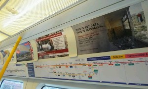 """Anti-Israel posters inside London's tube. The posters were put up ahead of the annual """"Israel Apartheid Week"""" campaign which began on Monday. Photo: Twitter."""