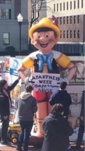 12-foot tall Pinocchio display at Columbia University