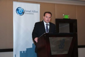 Leopoldo Martinez, the Latin America director of the Israel Allies Foundation, speaks at the recent Second Annual Latin America Summit on Israel in Miami. Photo: Provided.