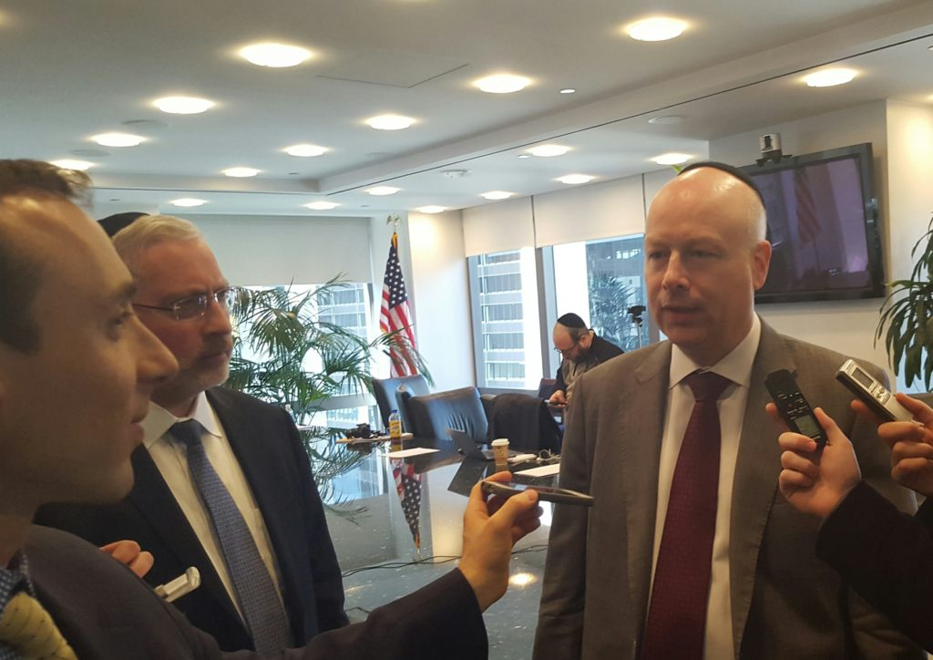 Jason (Dov) Greenblatt, Donald Trump's executive vice president and chief legal officer, fielding questions from Jewish journalists in New York Photo: Ruthie Blum.