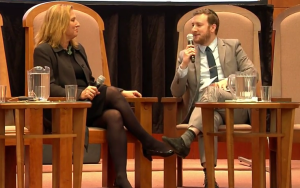 Zionist Union MK Tzipi Livni, in an interview with Algemeiner Editor-in-Chief Dovid Efune at a Ruderman Family Foundation-sponsored event at Temple Emanuel in Newton, Mass. Photo: Screenshot.
