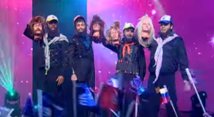 A scene from the satirical 'Eretz Nehederet' clip showing ISIS at the Eurovision. Photo: YouTube screenshot.