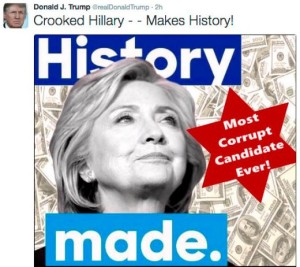 Donald Trump caused an uproar after tweeting out this image - featuring a Star of David - accusing Hillary Clinton of corruption. Photo: Twitter.