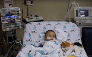 "Sixteen-month-old ""Yaya"" in the hospital in Israel. Photo: YouTube screenshot."