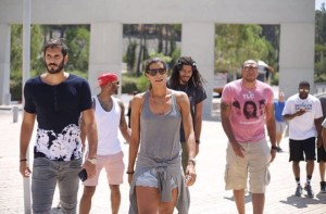 Omri Casspi, left, and a delegation of American celebrities and athletes at Yad Vashem. Photo: Instagram.
