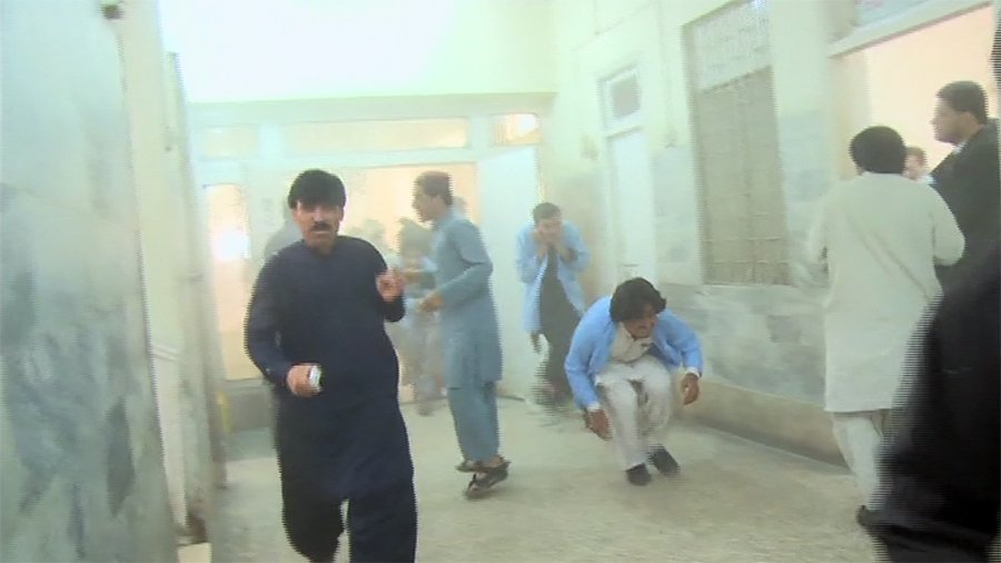 People running for cover inside a Pakistani hospital after a suicide bomber detonated himself. Photo: Twitter.