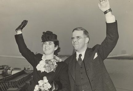 Martha and Waitstill Sharp, the subject of the new documentary, leaving for Prague in 1939. Photo: Sharp Family Archives.