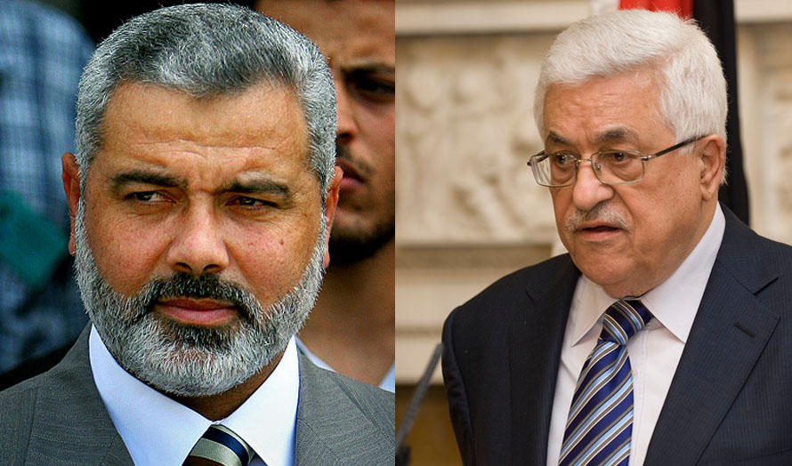 Senior Hamas leader Ismail Haniyeh (left) and PA President Mahmoud Abbas. Photos: Wikimedia Commons.