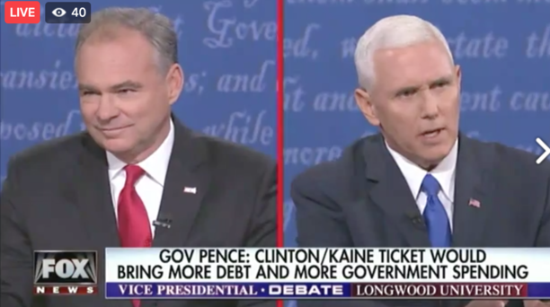 Vice presidential candidates Tim Kaine, left, and Mike Pence. Photo: Screenshot.