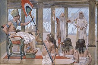 Moses Speaks to Pharaoh (watercolor circa 1896–1902 by James Tissot). Photo: Wikipedia.