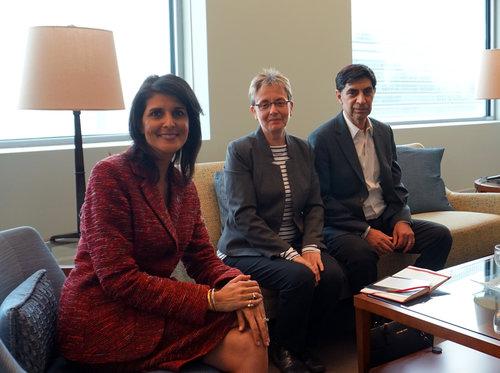 U.S. Ambassador to the U.N. Nikki Haley and the Goldin family. Photo: U.S. Mission to the U.N.