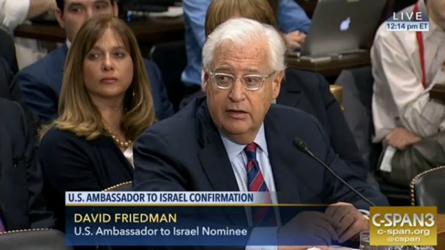 David Friedman, President Donald Trump's pick to serve as the next US envoy to Israel. Photo: Screenshot.