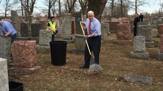 Vice President Mike Pence aids in the cleanup effort at a recently vandalized Jewish cemetery in St. Louis, Missouri, Feb. 22, 2017. Photo: Pence's Twitter account.